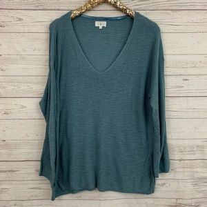 Lou & Grey v-neck sweater tunic teal thin soft